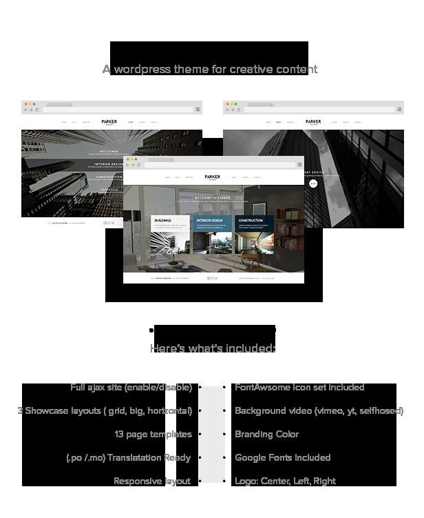 WordPress theme Parker - Creative WordPress Showcase (Portfolio)